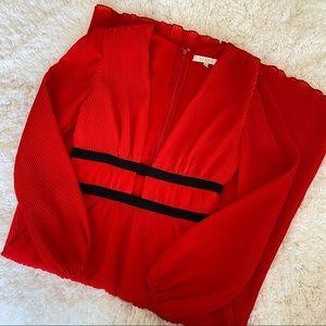 NWOT Wayf Red/Orange Long Sleeve Cutout Midi Dress